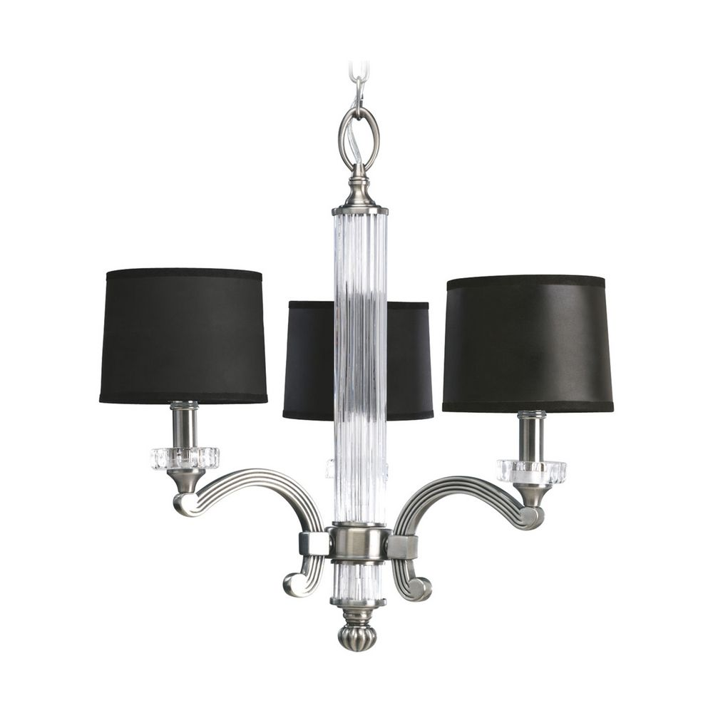 Chandelier With Black Shades In Classic Silver Finish P4500 101 Hover Or To Zoom