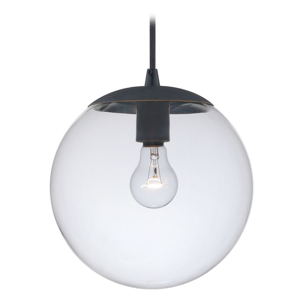 630 series black iron mini pendant light with globe shade by vaxcel