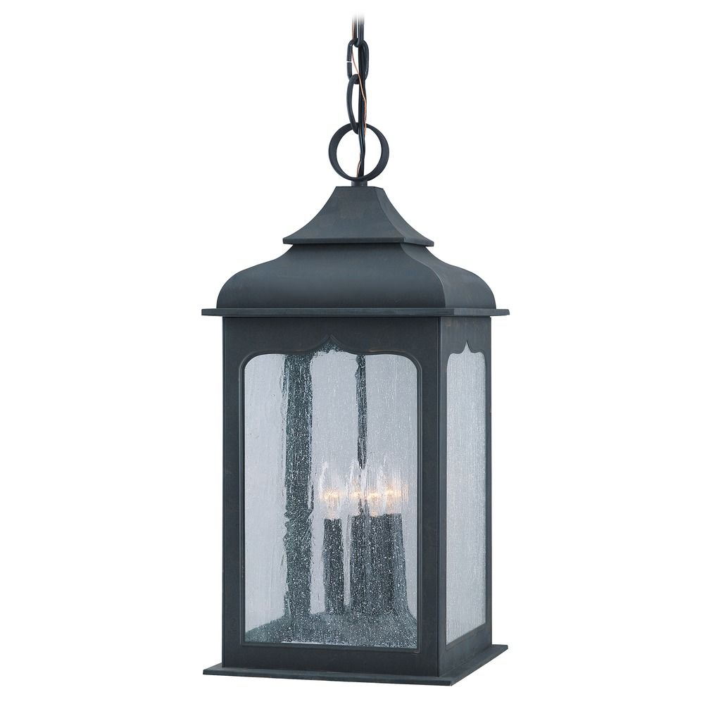 Outdoor Hanging Light With Clear Glass In Colonial Iron