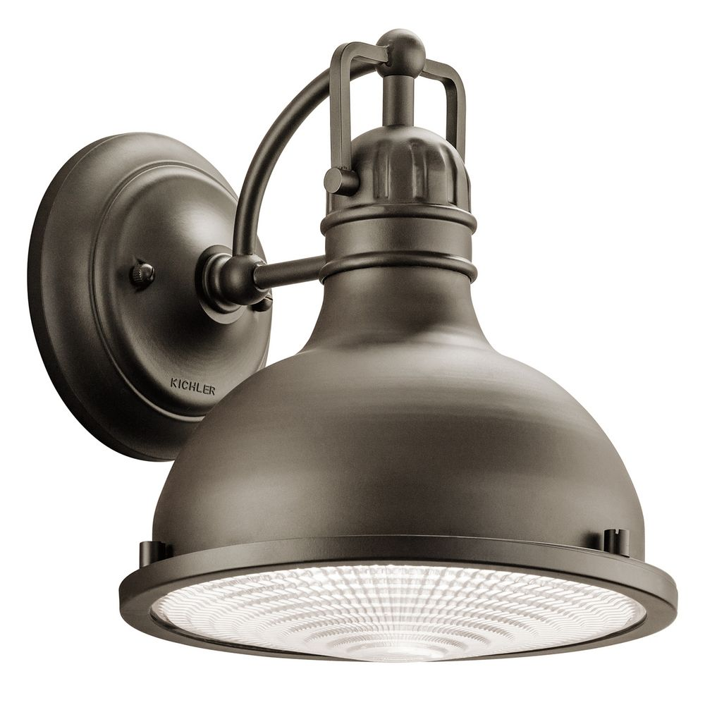 Industrial style led outdoor wall light with fresnel for Led yard light fixtures