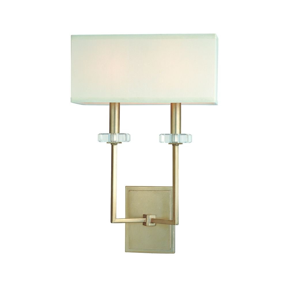 Sconce Wall Light with White Shades in Silver Leaf Finish B2442SL Destination Lighting