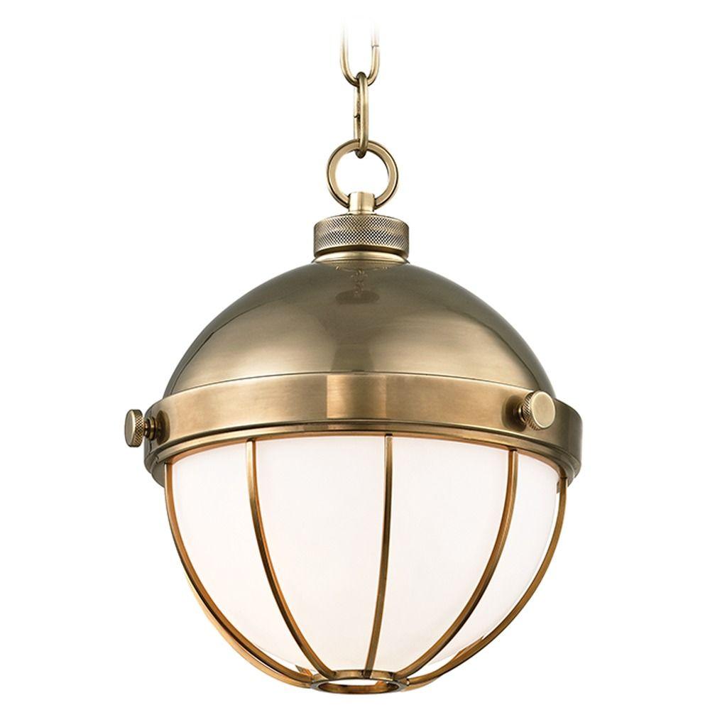 Hudson Valley Emergency Lighting: Mid-Century Modern Pendant Light Brass Sumner By Hudson