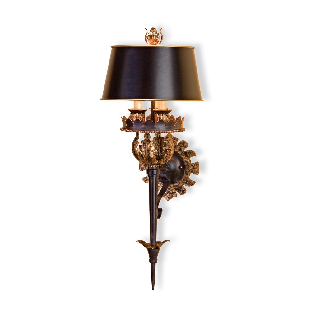Plug-In Wall Lamp with Black Paper Shades in Zanzibar/gold Leaf Finish 5412 Destination Lighting