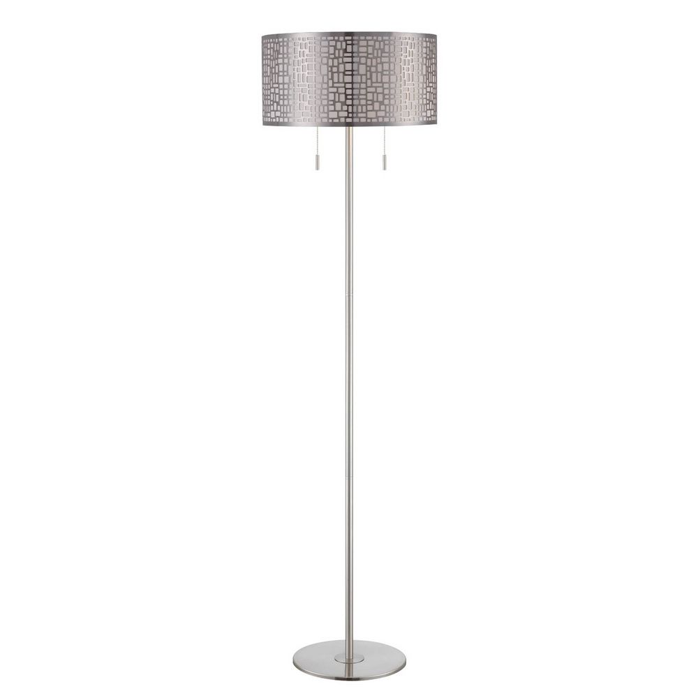 lite source lighting torre polished steel floor lamp with drum shade. Black Bedroom Furniture Sets. Home Design Ideas