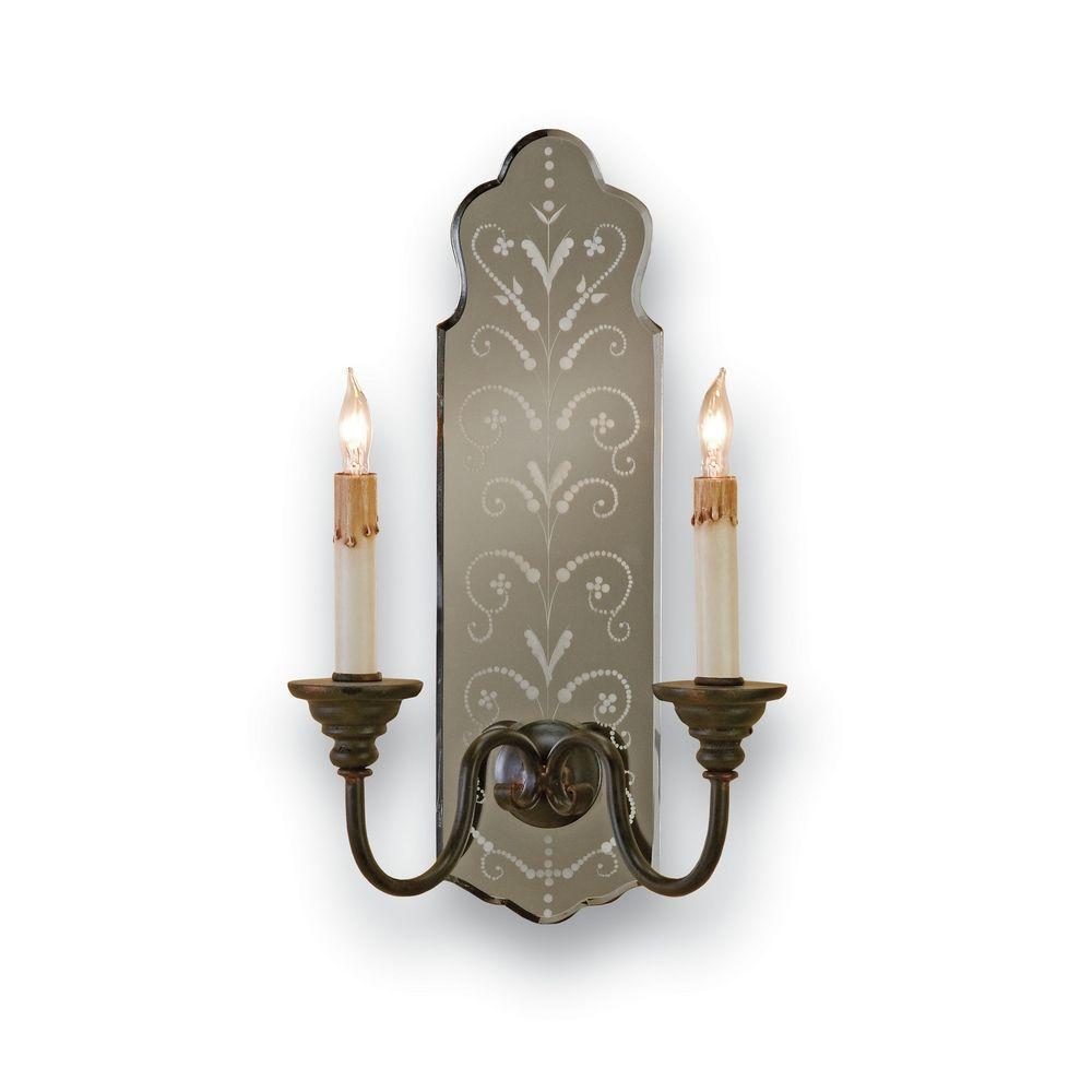 ... Lighting Sconce Wall Light in Venetian Mirror/old Iron Finish 5403