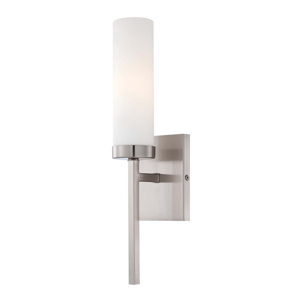 Modern White Wall Sconces : Modern Sconce Wall Light with White Glass in Brushed Nickel Finish 4460-84 Destination Lighting