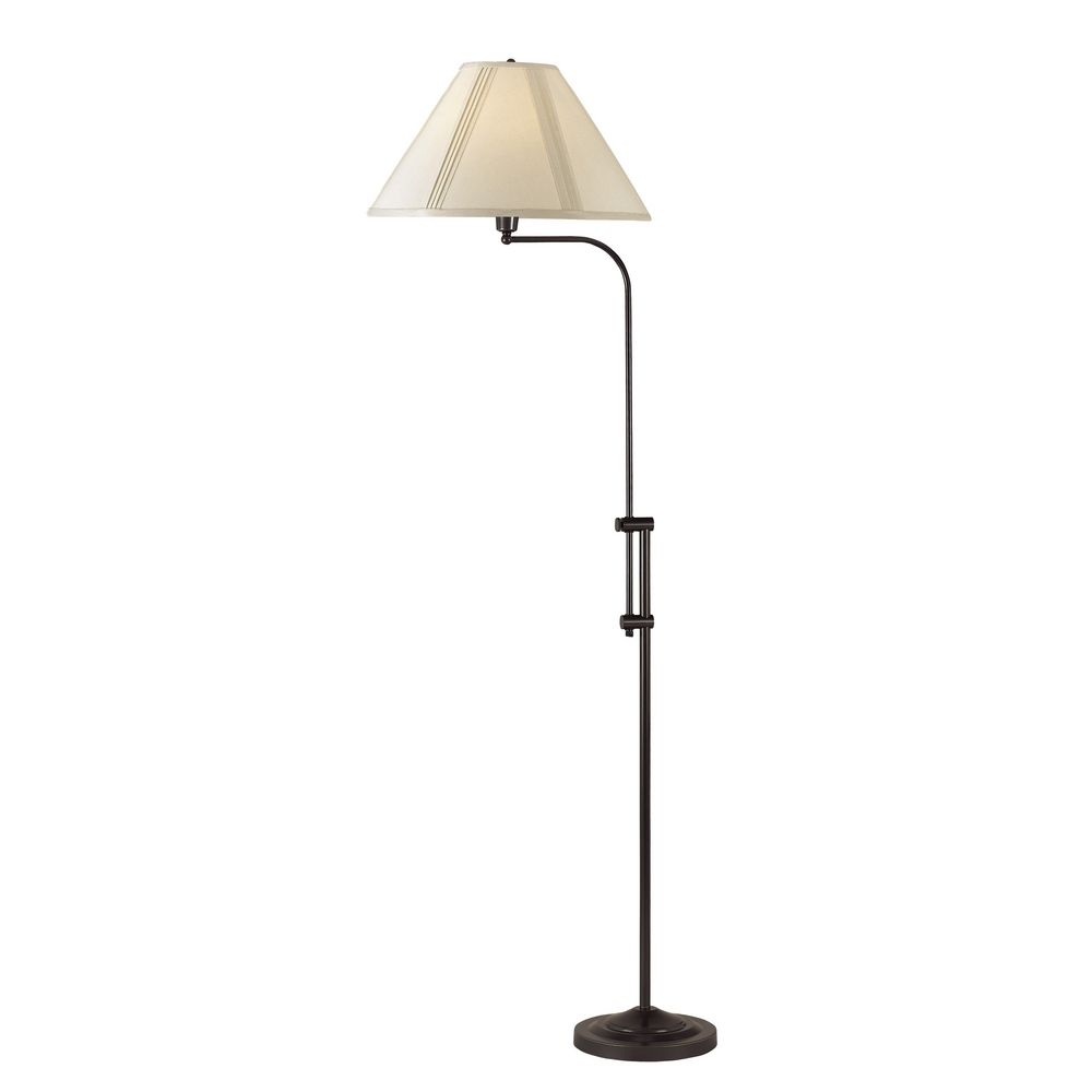 CAL Lighting Adjustable Pharmacy Floor Lamp With Pleated Shade BO 216 DB