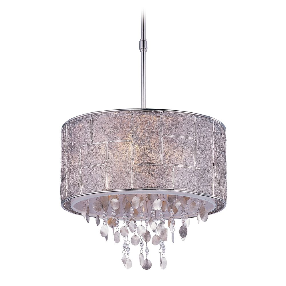 drum pendant light in polished nickel finish