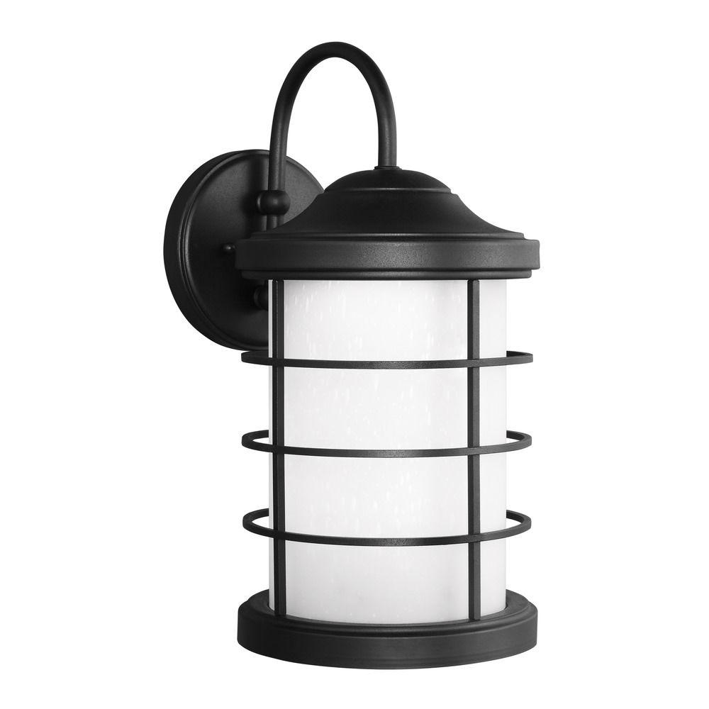 Led Outside Wall Lights Black : Sea Gull Sauganash Black LED Outdoor Wall Light 8624491S-12 Destination Lighting