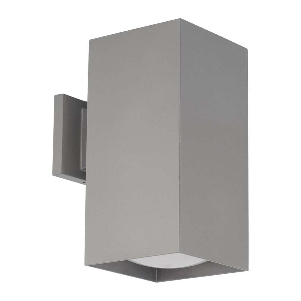 Progress Lighting Led Sq Cylinder Metallic Gray Outdoor Wall Light At Destination