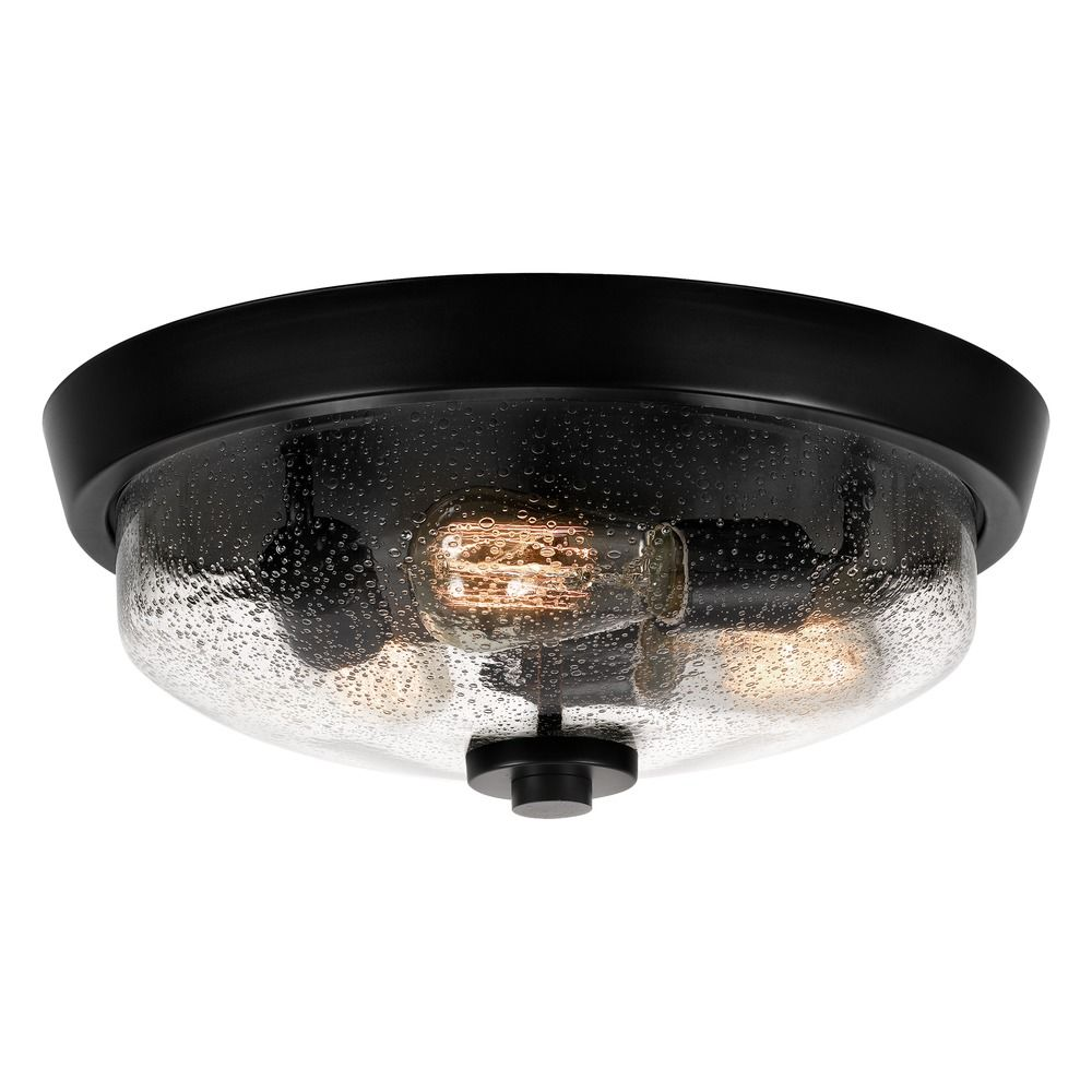 Quoizel Lighting Seeded Gl Flushmount Light Black Fixture By Qf3415ek