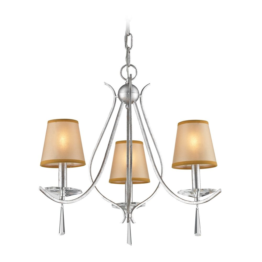 Mini Chandelier with Beige Cream Shades in Silver Finish