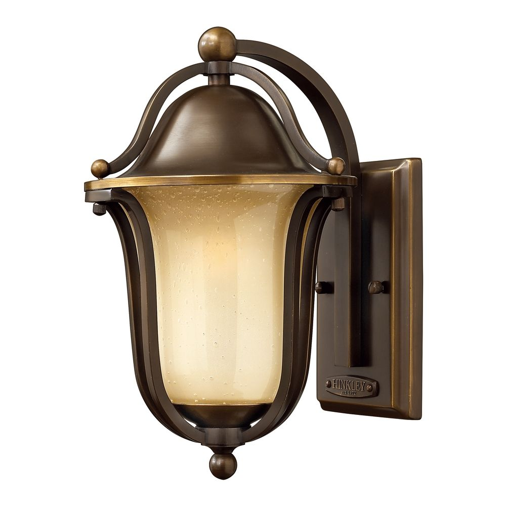 Amber Glass Wall Lights : Outdoor Wall Light with Amber Glass in Olde Bronze Finish 2630OB Destination Lighting