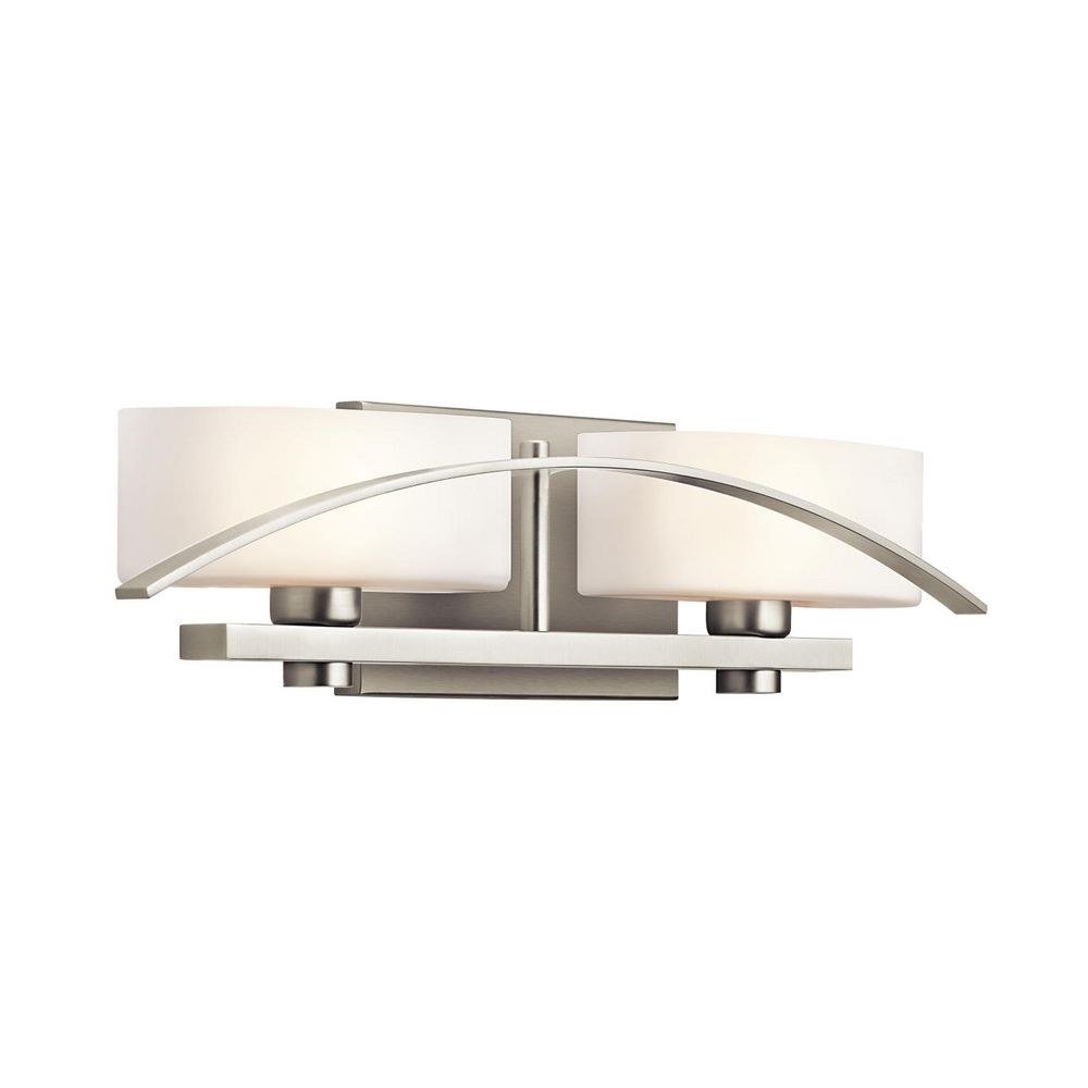 Kichler Brushed Nickel Modern Bathroom Light With White Glass 45316ni Destination Lighting