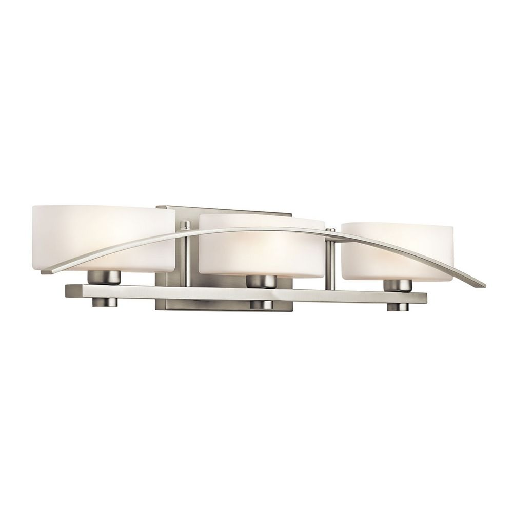 Kichler Brushed Nickel Modern Bathroom Light With White Glass 45317ni Destination Lighting