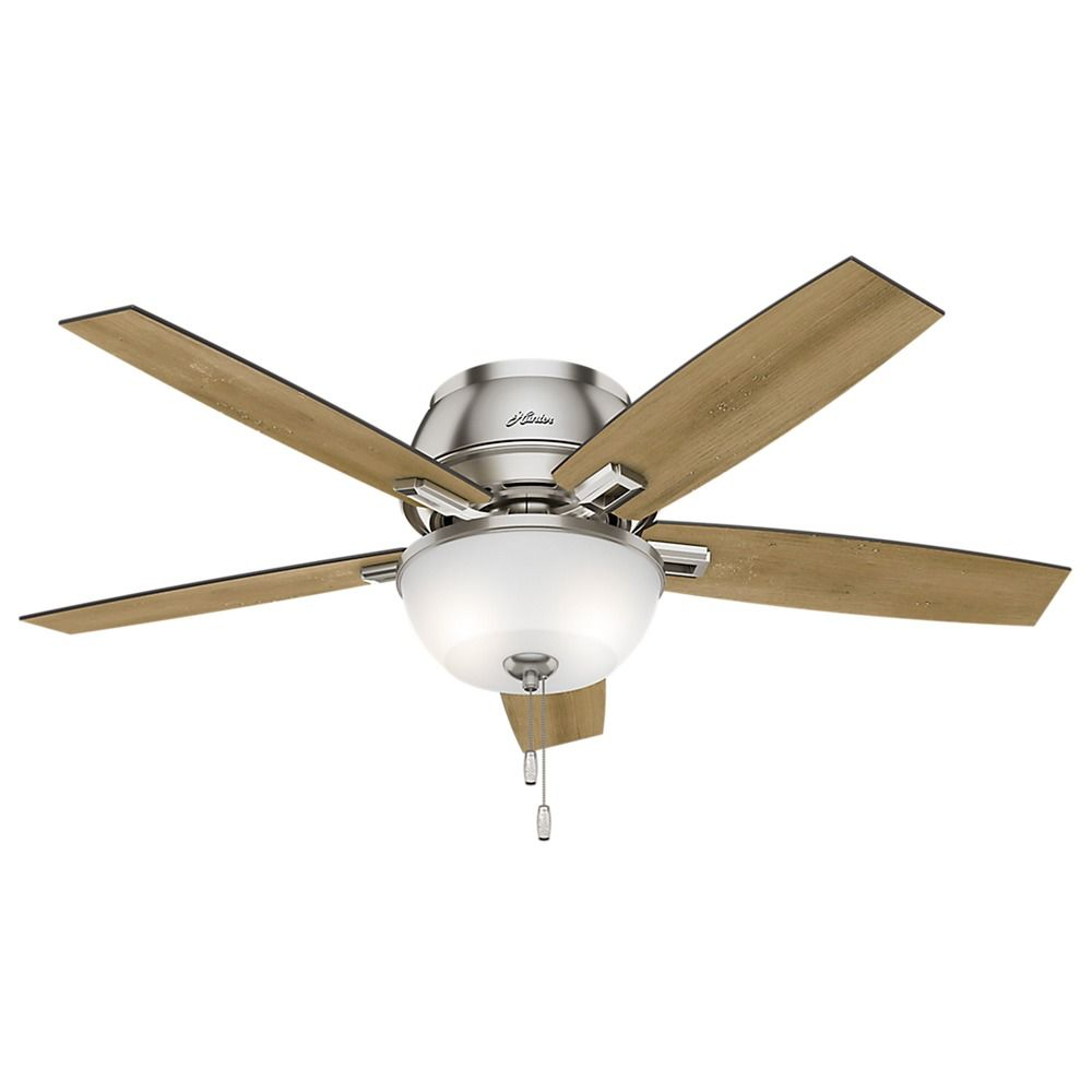 52 Inch Hunter Fan Donegan Low Profile Brushed Nickel Led