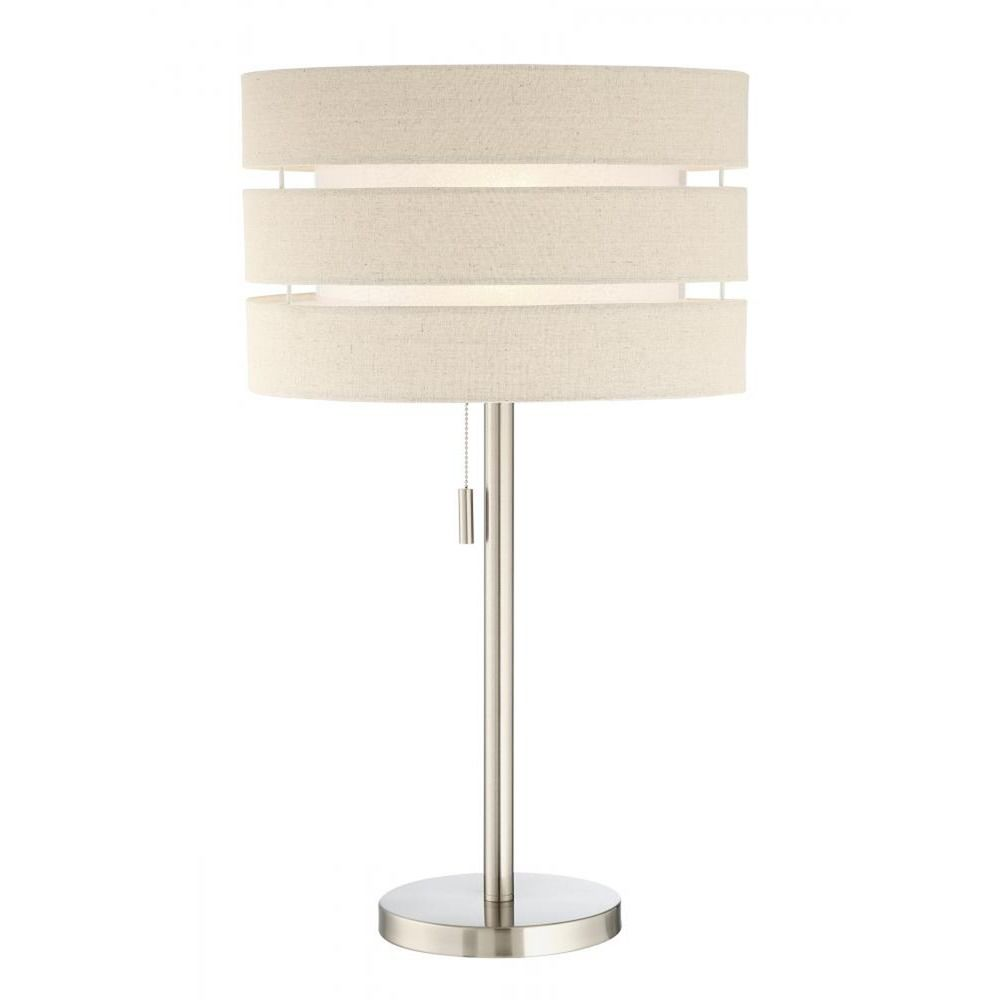 Lite source falan brushed nickel table lamp with drum shade ls shown in brushed nickel finish product image mozeypictures Image collections