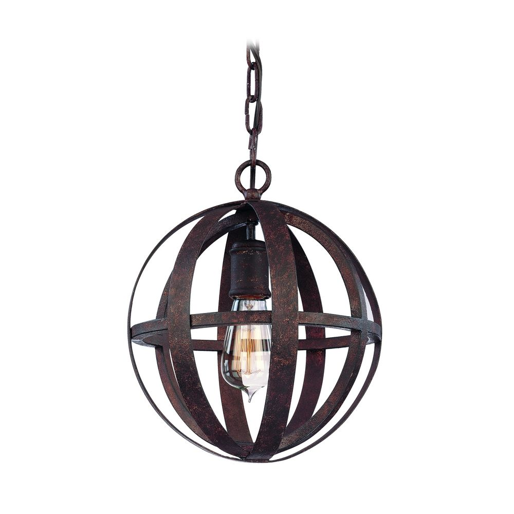 Troy Lighting Small Orb Pendant Light In Weathered Iron Finish F2511WI