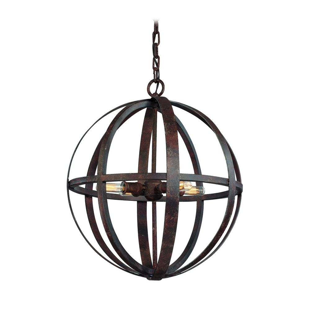 Hover or Click to Zoom  sc 1 st  Destination Lighting & Small Orb Pendant Light in Weathered Iron Finish - 4-Lights ... azcodes.com