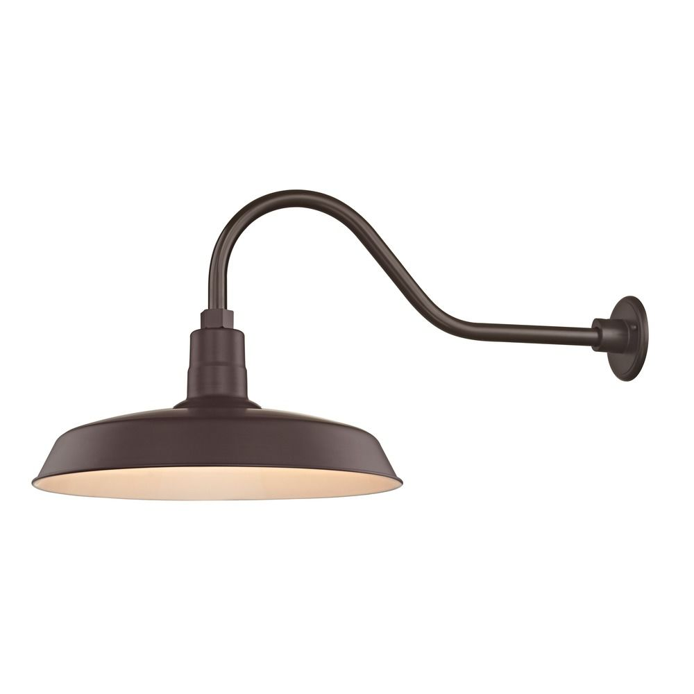 Barn Light Outdoor Wall Light Bronze with Gooseneck Arm 18\