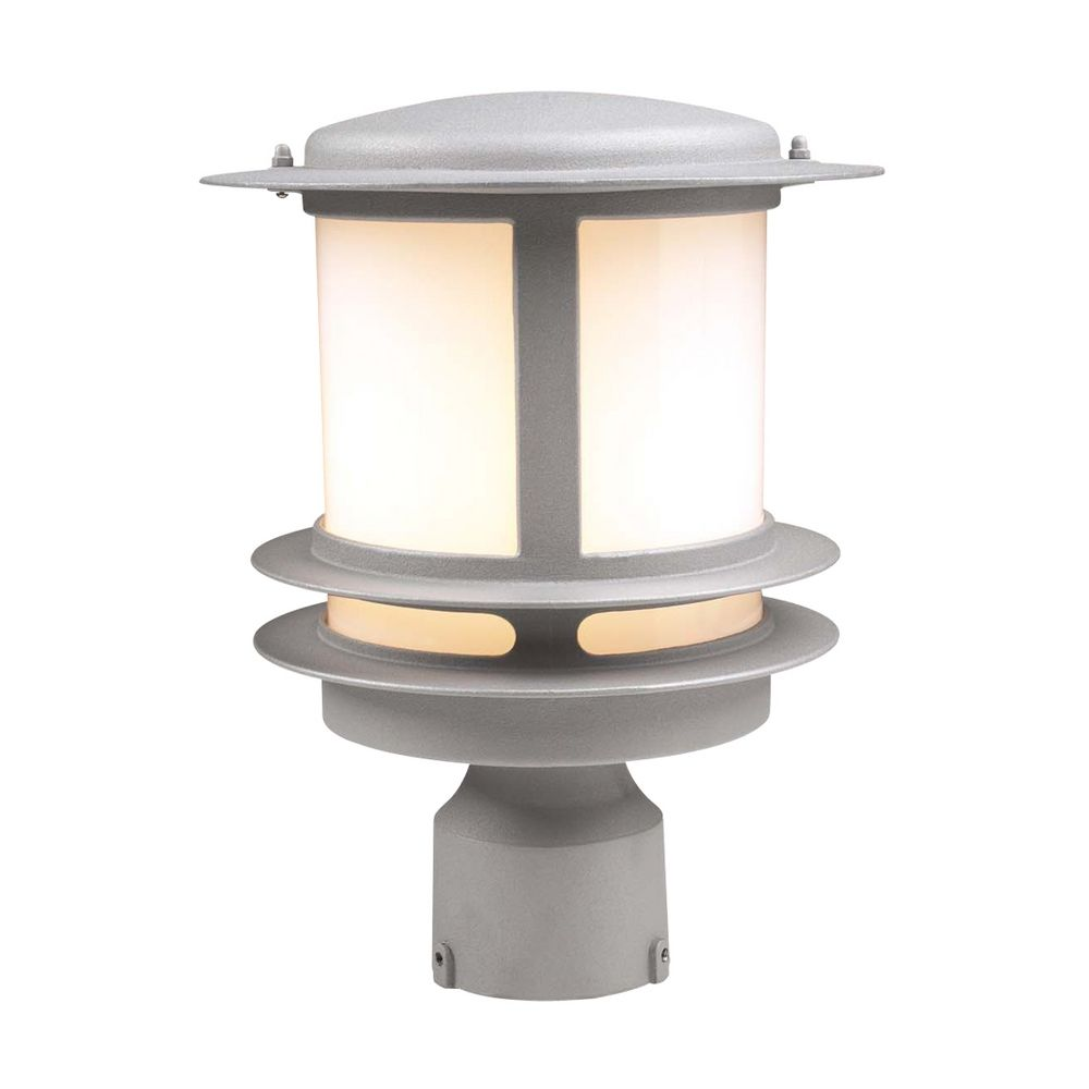 Plc Lighting Modern Post Light With White Gl In Silver Finish 1896 Sl Hover Or Click To Zoom