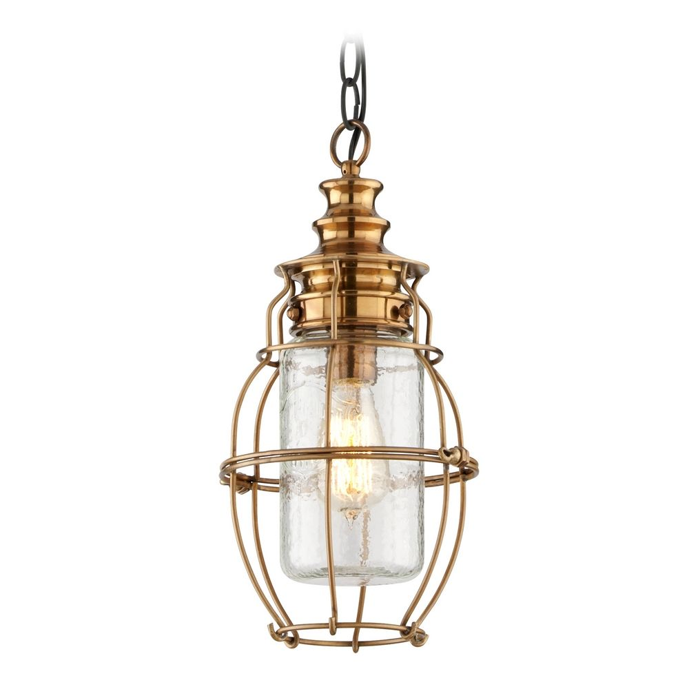 Outdoor Hanging Light With Clear Cage Shade In Aged Brass