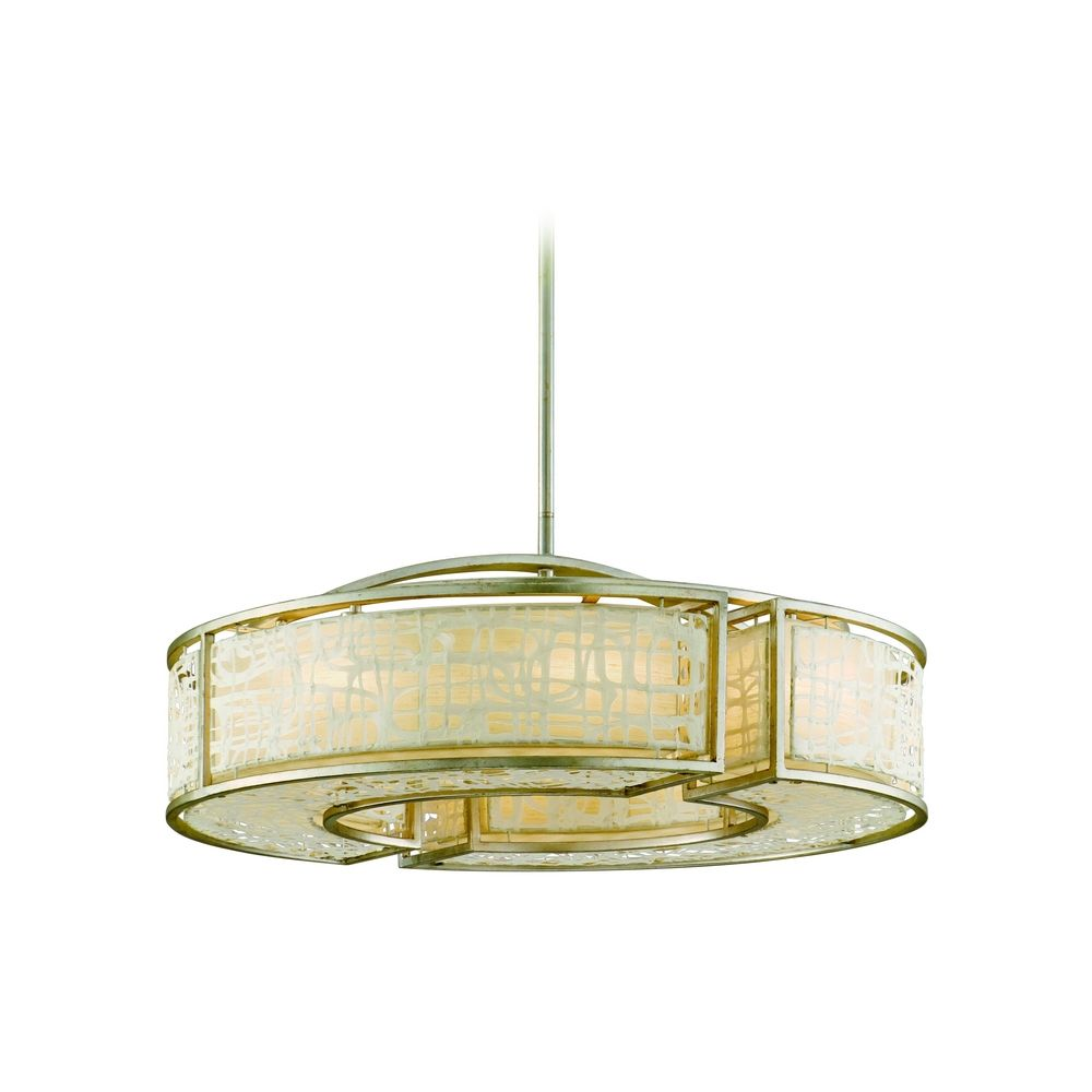 Modern Drum Pendant Light With White Paper Shades In Silver Leaf Finish 131 48 Destination