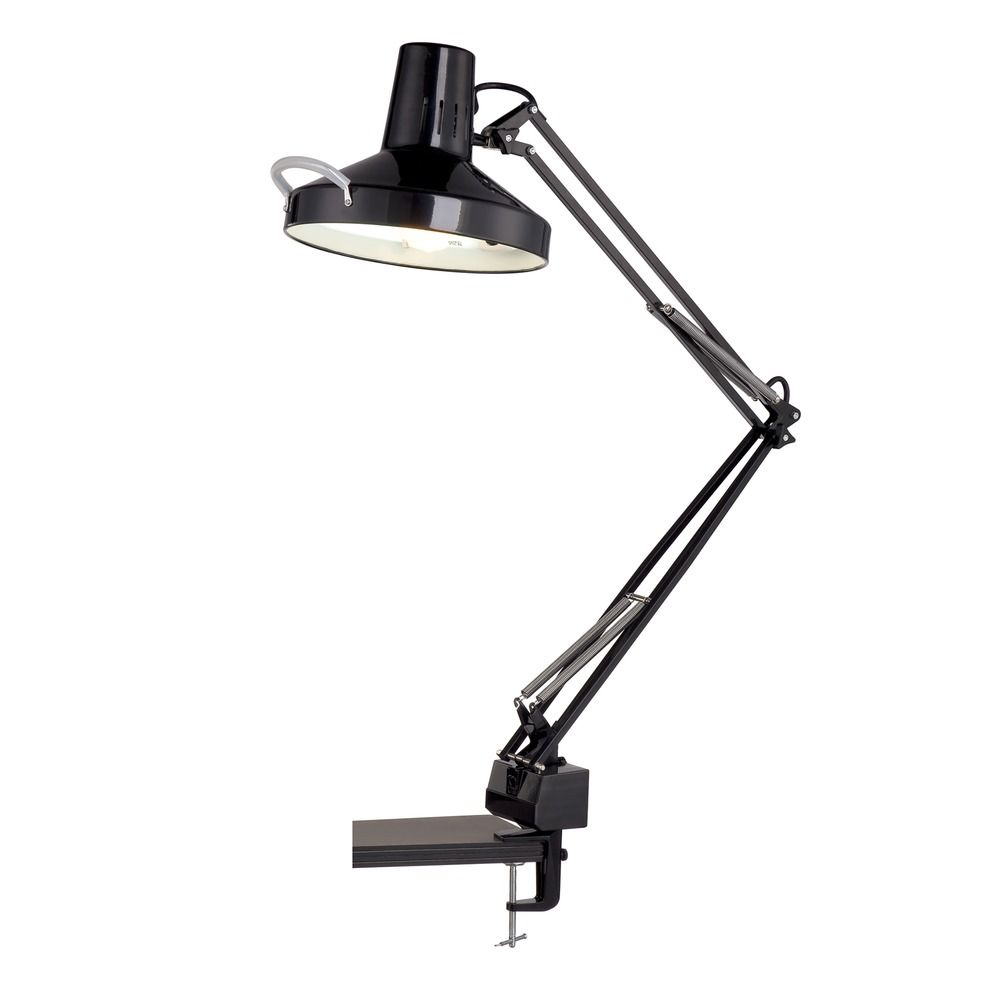 Lite Source Lighting Combination Black Clamp Desk Lamp