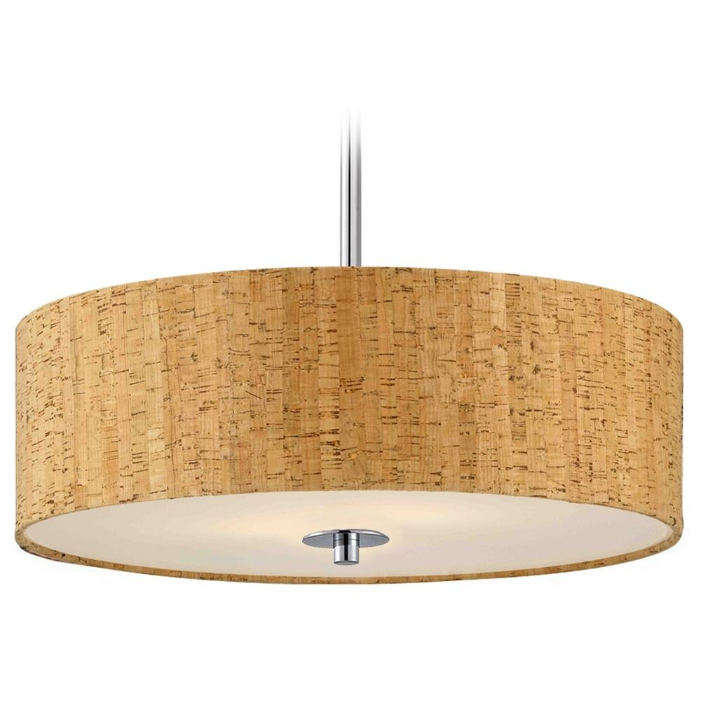 drum pendant light in chrome finish with cork shade ebay