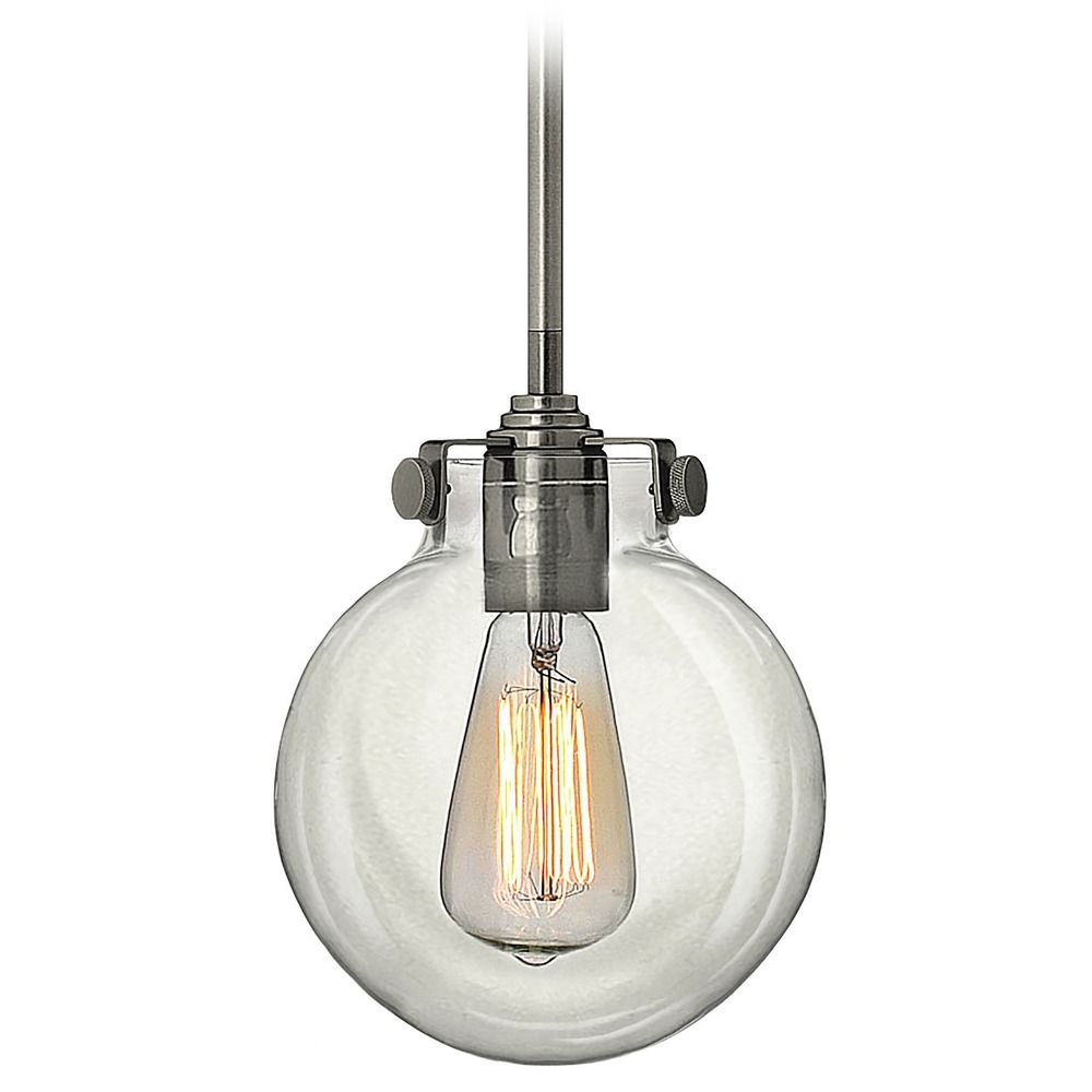 lighting mini pendant vintage light with clear hand blown glass