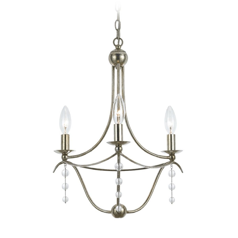 Crystal Mini Chandelier in Antique Silver Finish