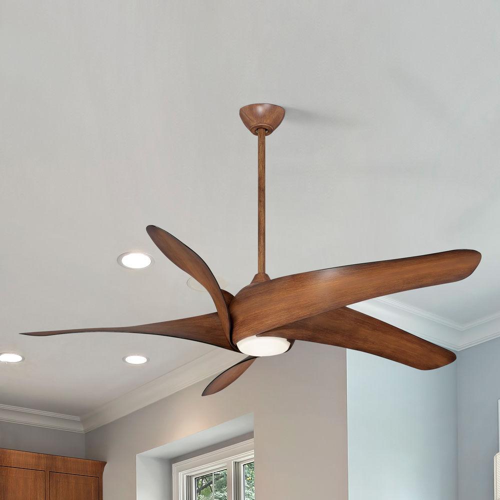 62 Inch Minka Aire Artemis Xl5 Distressed Koa Led Ceiling Fan With Light F905l Dk Destination Lighting