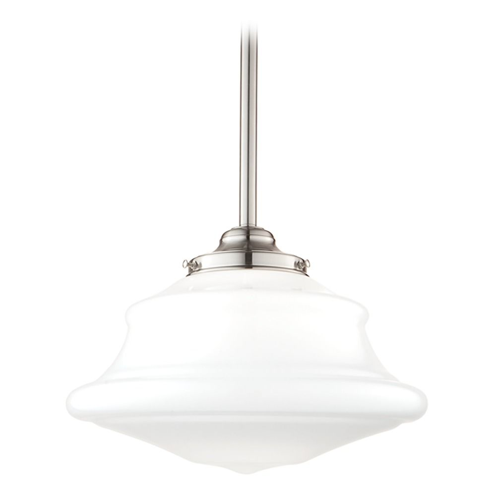 schoolhouse pendant light with white glass in satin nickel f