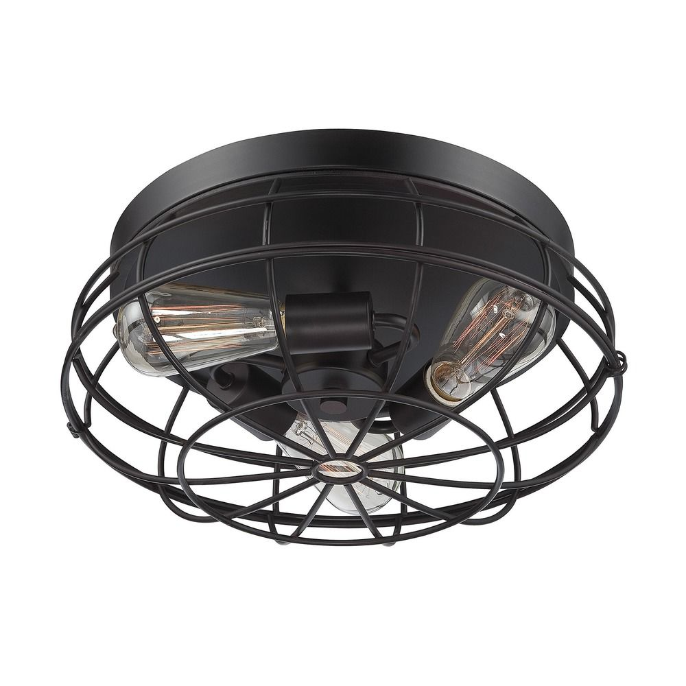 Industrial Flushmount Light Bronze Scout By Savoy House