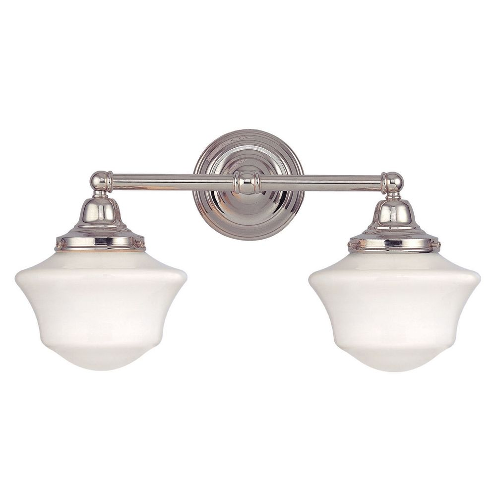 Schoolhouse Bathroom Light With Two Lights In Polished Nickel WC2 15 GC6