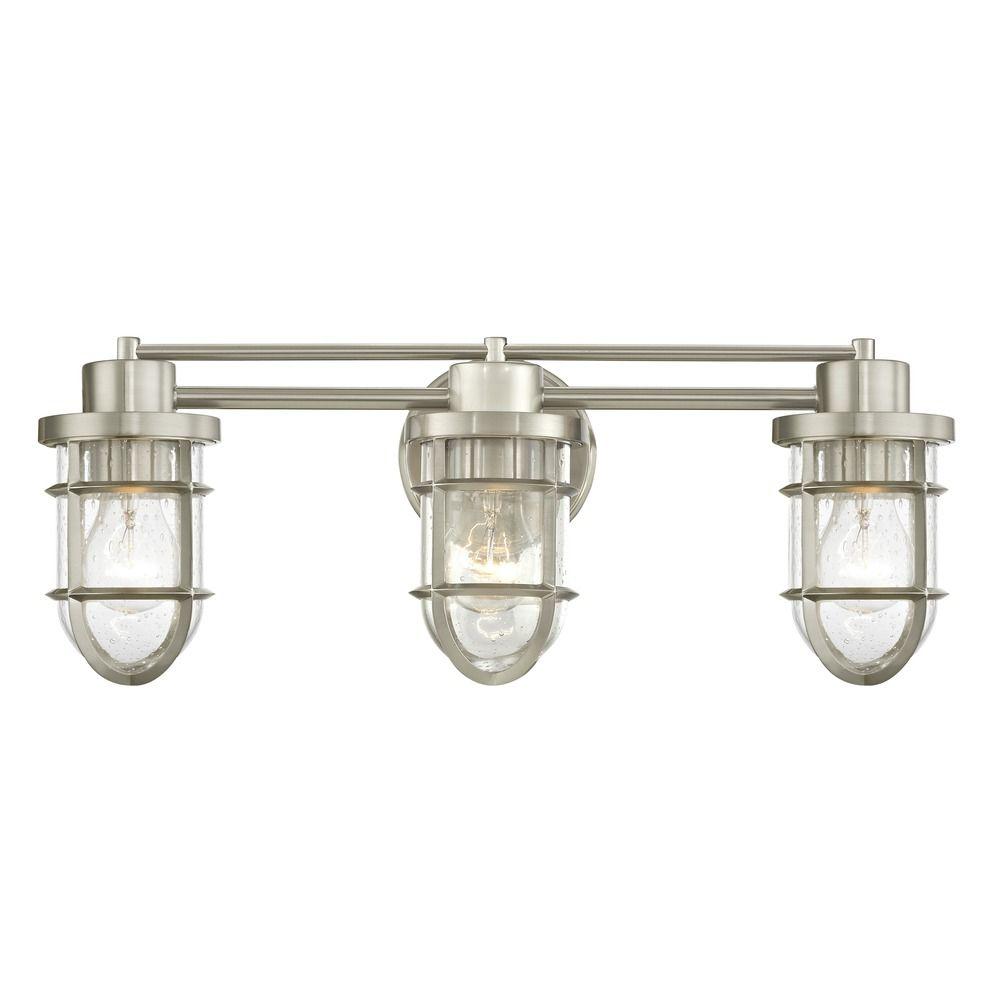 Seeded Glass Bathroom Light Satin Nickel Cage 3 Lt 1843 09 Destination Lighting