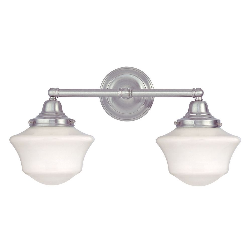 Schoolhouse bathroom light with two lights in satin nickel for Bathroom 2 light fixtures