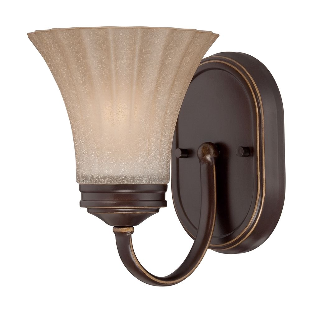 Amber Glass Wall Lights : Sconce Wall Light with Amber Glass in Palladian Bronze Finish ALZ8601PN Destination Lighting