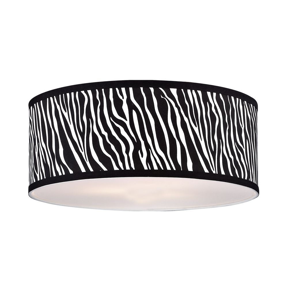Large Zebra Print Drum Lamp Shade