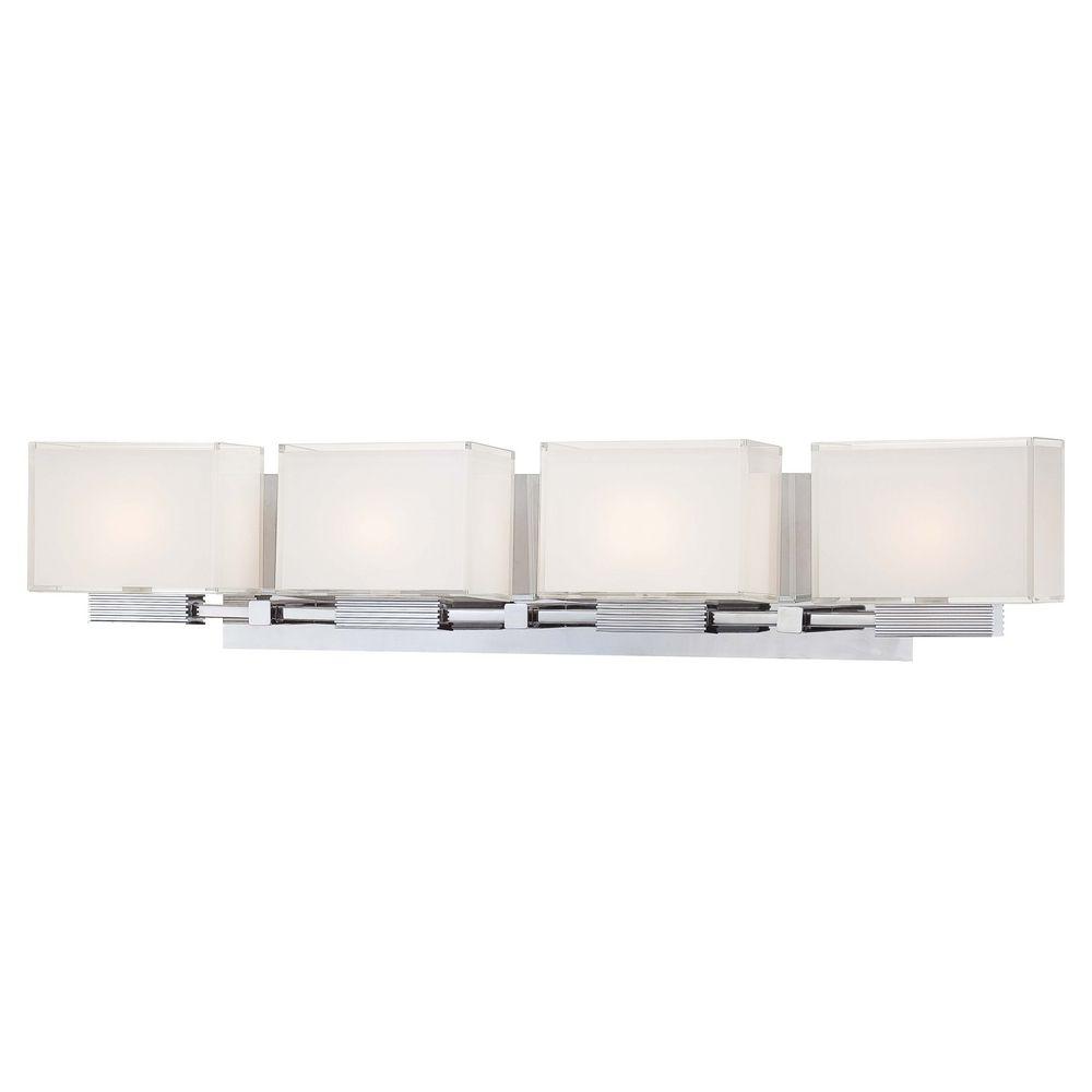 Modern Bathroom Light With White Glass In Chrome Finish P5214 077 Destination Lighting