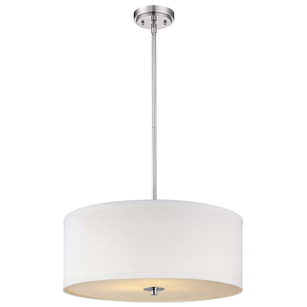 Contemporary pendant light with white drum shade in chrome for Modern white pendant lighting