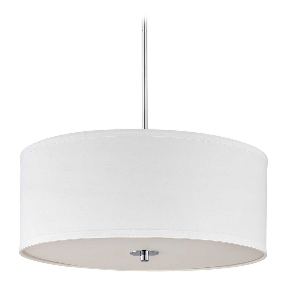 Contemporary pendant light with white drum shade in chrome finish contemporary pendant light with white drum shade in chrome finish off aloadofball Gallery