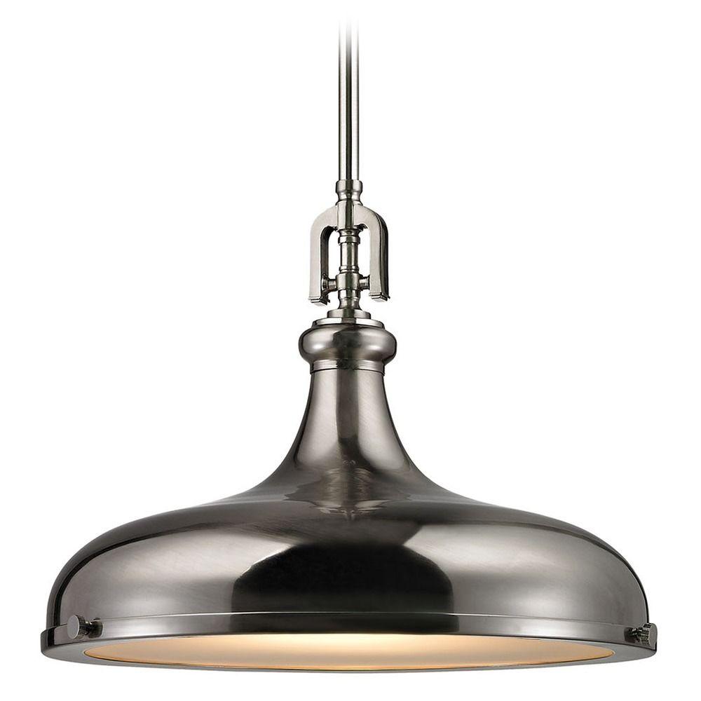 elk lighting rutherford brushed nickel pendant light with bo