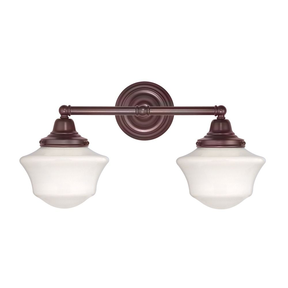 Bathroom Light Fixtures Bronze Finish schoolhouse bathroom light with two lights in bronze finish | wc2