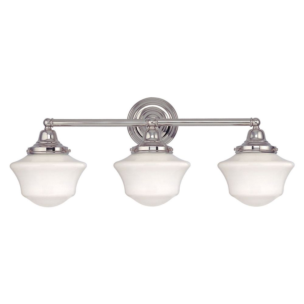 Superior Design Classics Lighting Schoolhouse Bathroom Light With Three Lights In Polished  Nickel WC3 15 /