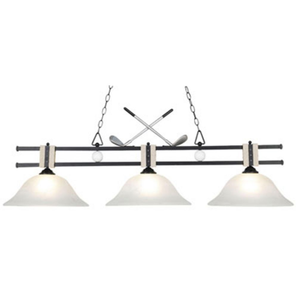 modern billiard light with white glass in matte black