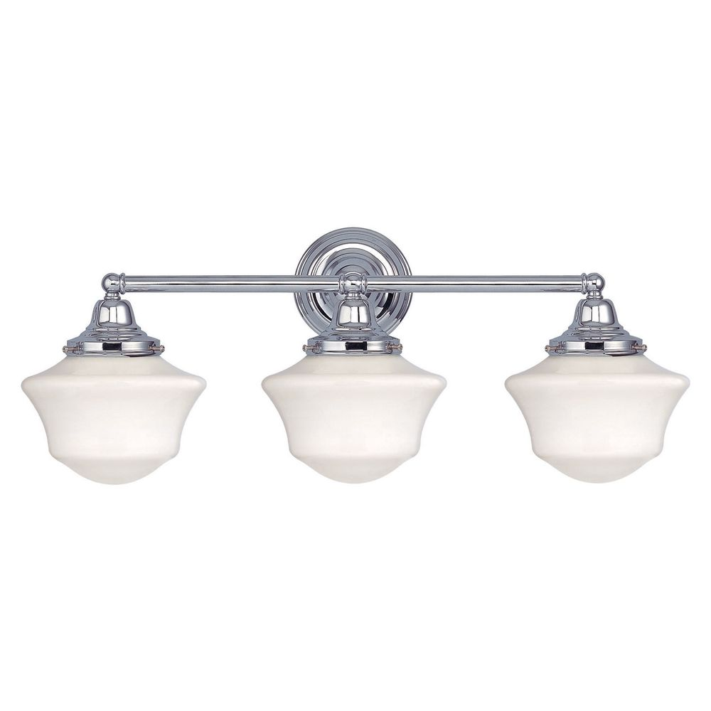 Bathroom Lighting Sconces Chrome schoolhouse bathroom light with three lights in chrome finish