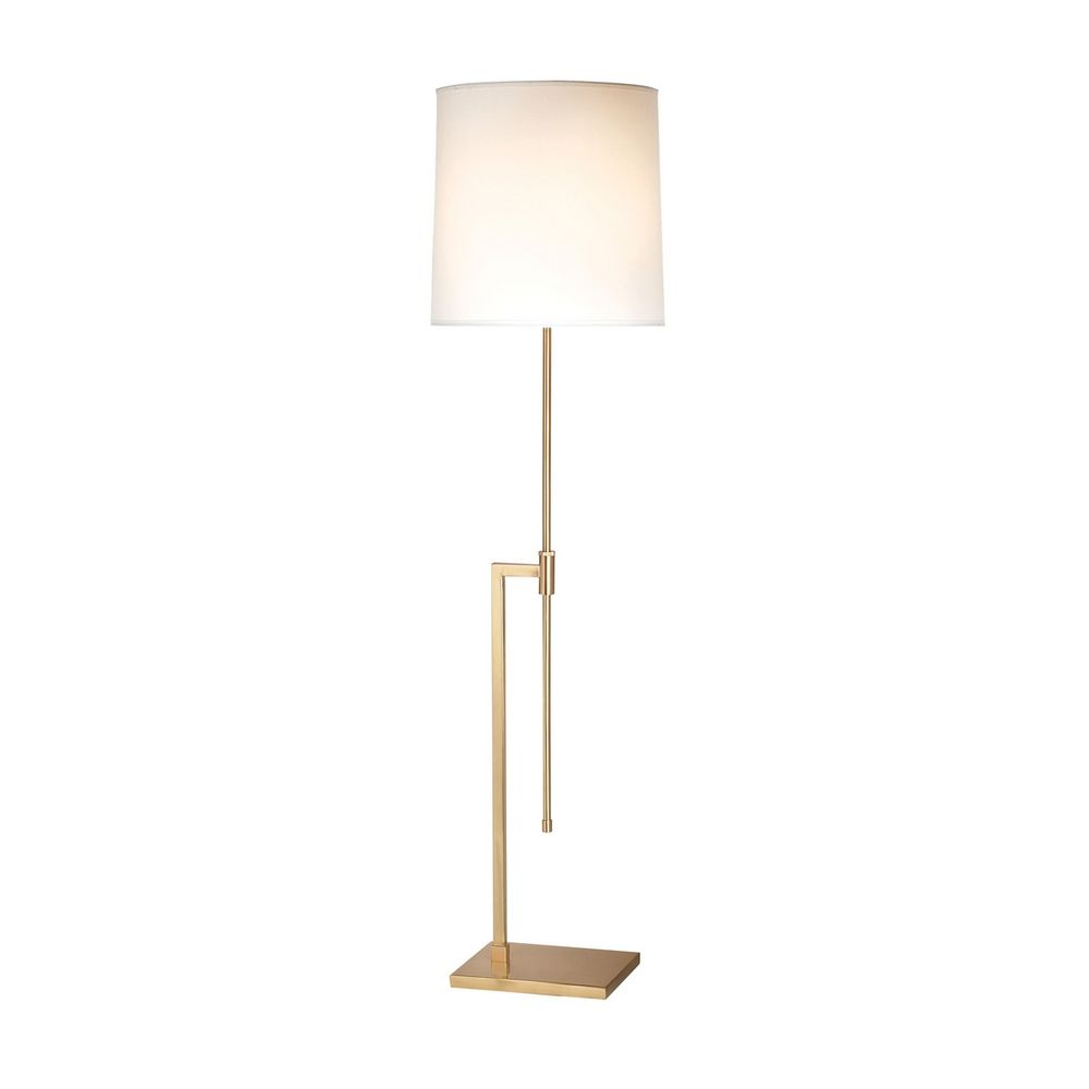 Modern floor lamp with white shade in satin brass finish for Tecton floor lamp white