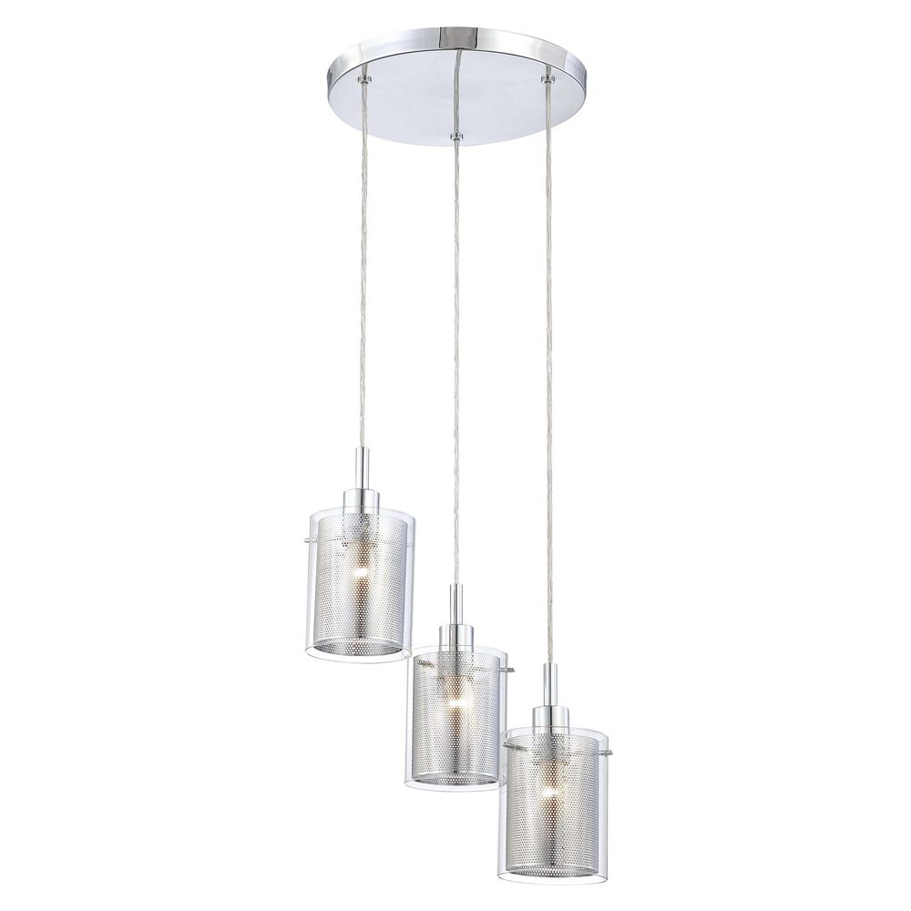 modern multi light pendant light with clear glass and 3 lights
