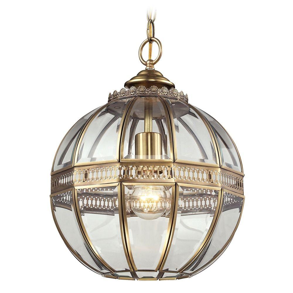 Elk Lighting Randolph Brushed Brass Pendant Light With